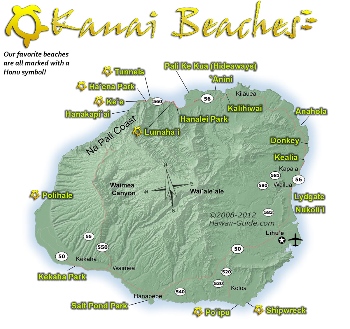 Kauai Beach: Kauai-Beach-Map.jpg 1,200×1,129 Pixels