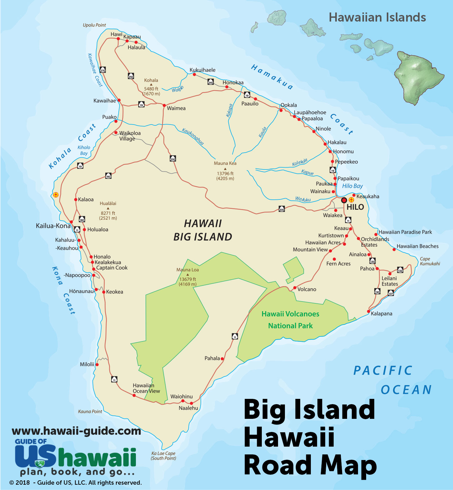 graphic regarding Oahu Map Printable named Large Island of Hawaii Maps