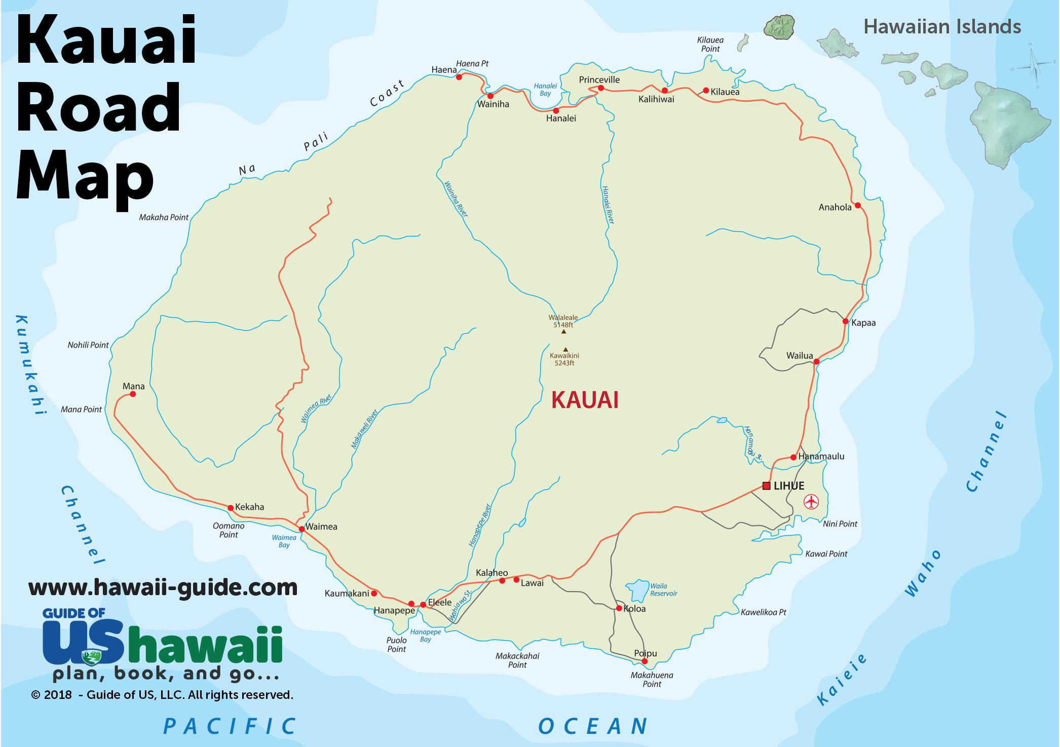 Kauai Hawaii Maps Travel Road Map Of Kauai