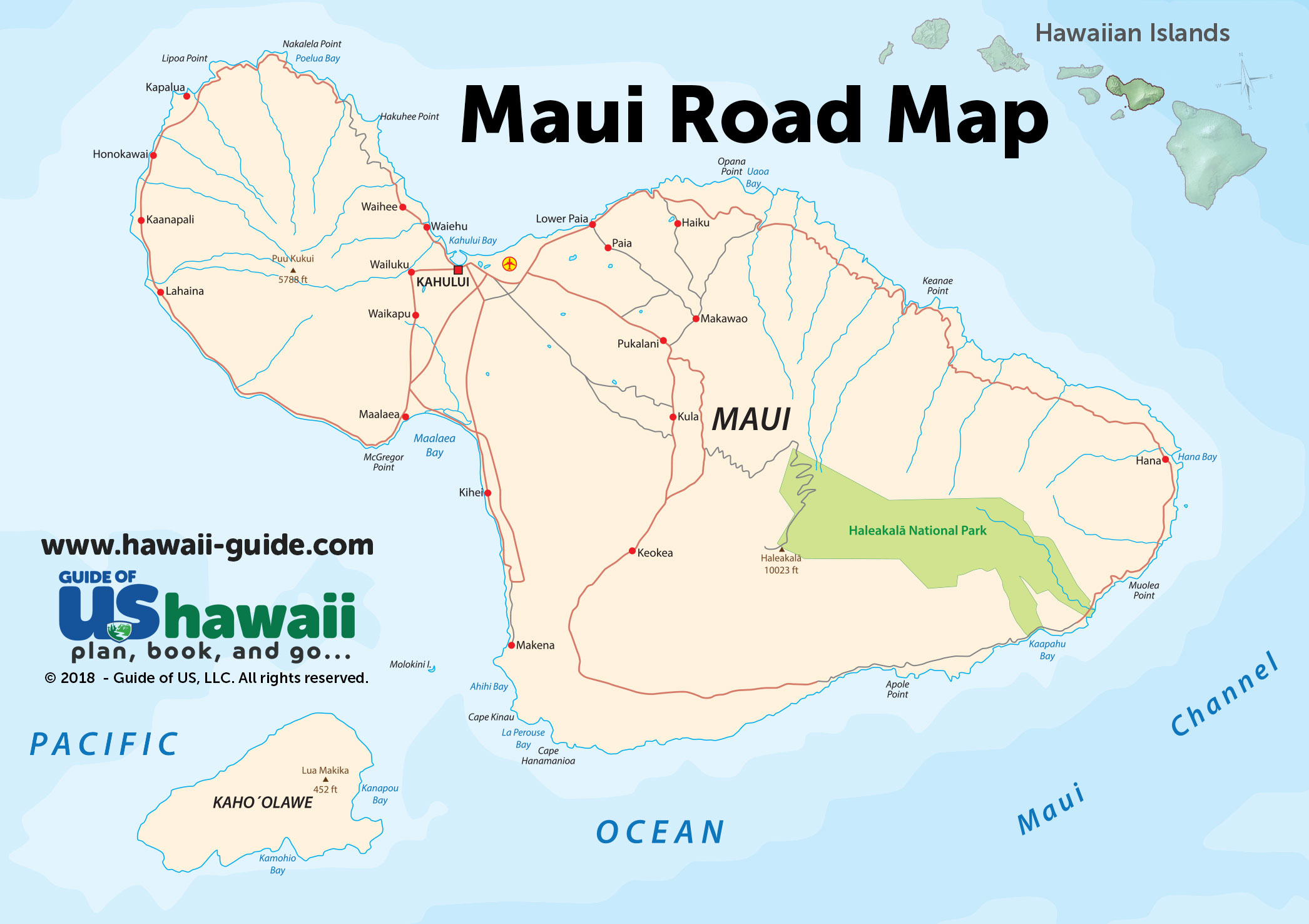Maui Hawaii Maps - Travel Road Map on