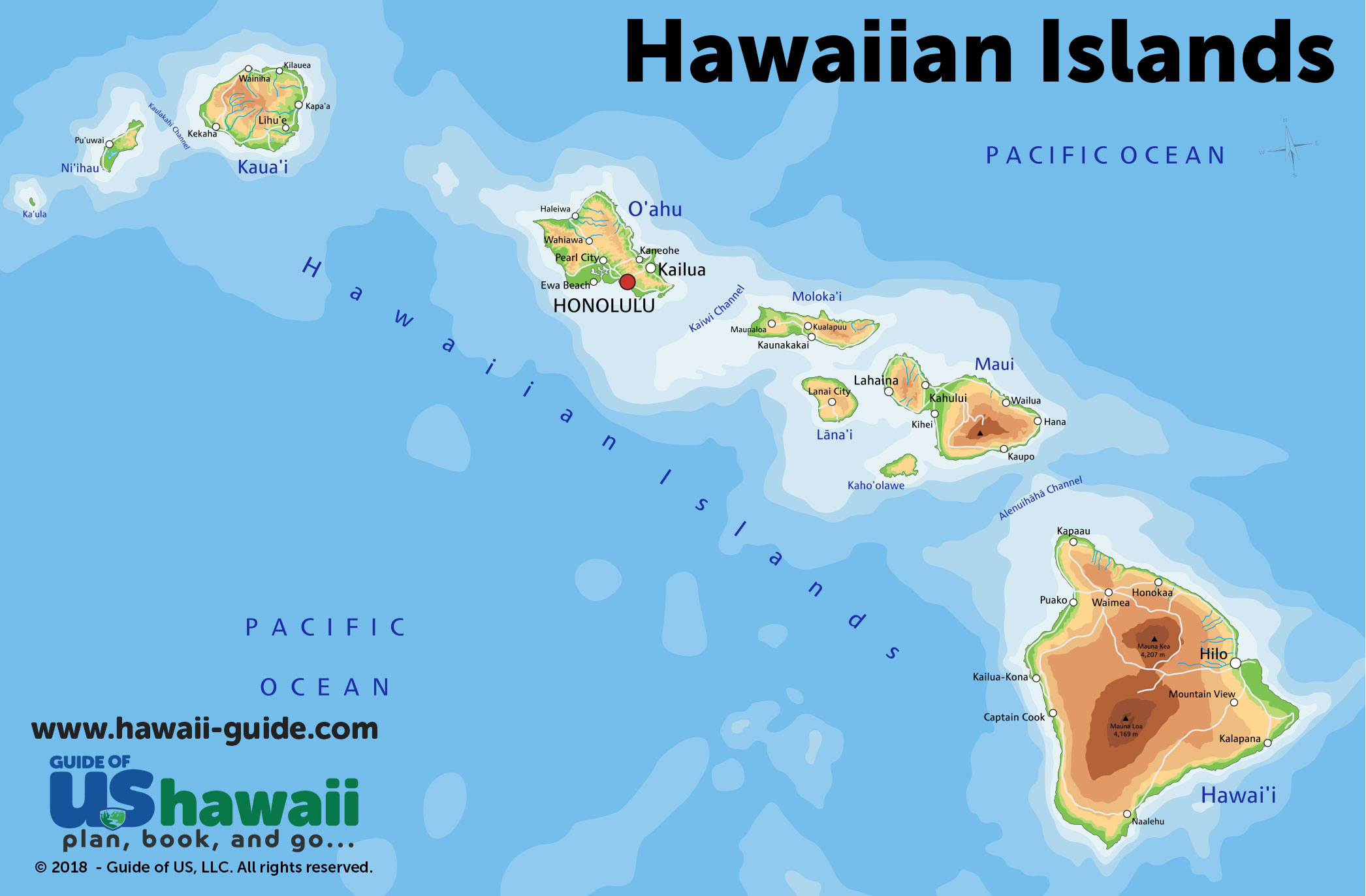 Hawaiian Island Map Maps of Hawaii: Hawaiian Islands Map