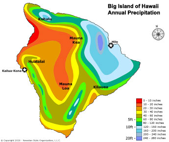 Big Island Precipitation Map