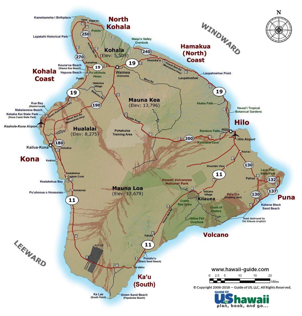 Big Island Of Hawaii Maps - Hawaii cities map