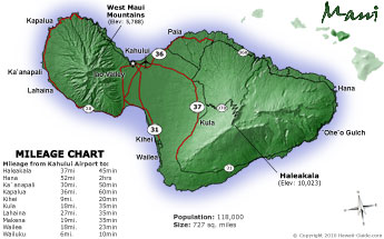 Maui Road Map with Mileage Chart