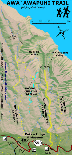 Awaawapuhi Trail Map