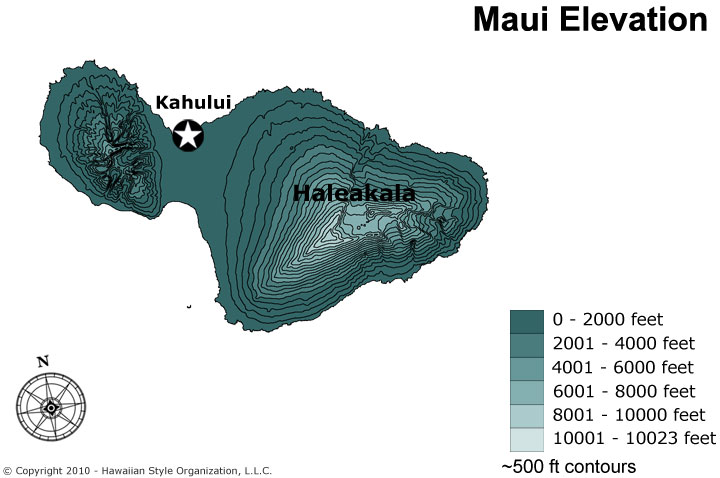 Topographic Map Of Maui.Maps Of Maui Hawaii