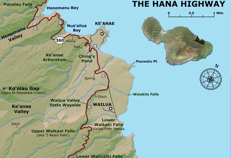 Road To Hana Map - Hawaii road map