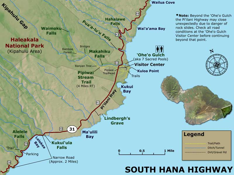 Road To Hana Map Best Stops Road to Hana Map