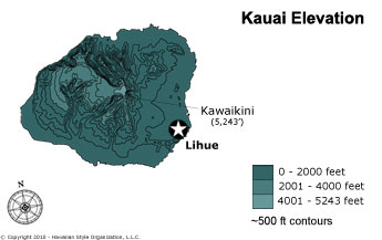 Kauai Elevation Map