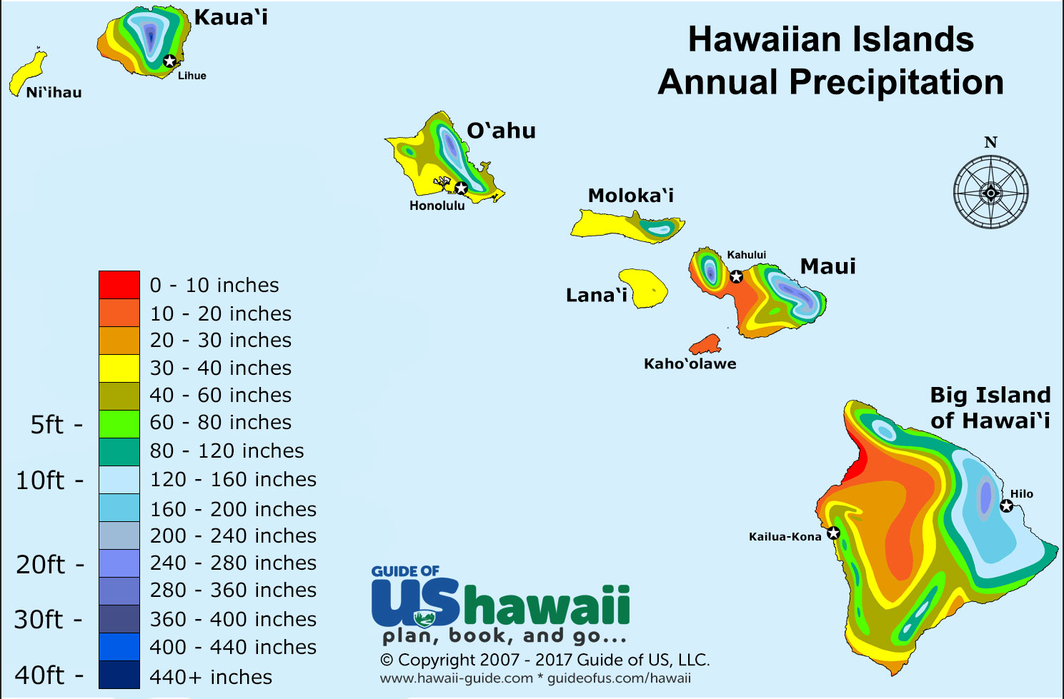 Hawaii weather and climate patterns hawaii annual precipitation sciox Choice Image