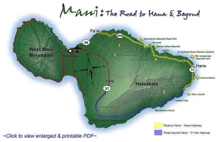 Maui Traffic Map.Road To Hana Map