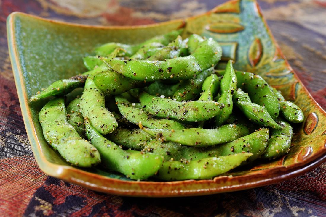 Poke style (seasoning) Edamame is a must try while on the islands. This favorite consists of sesame oil, sea salt, and fresh garlic and chili pepper bits.