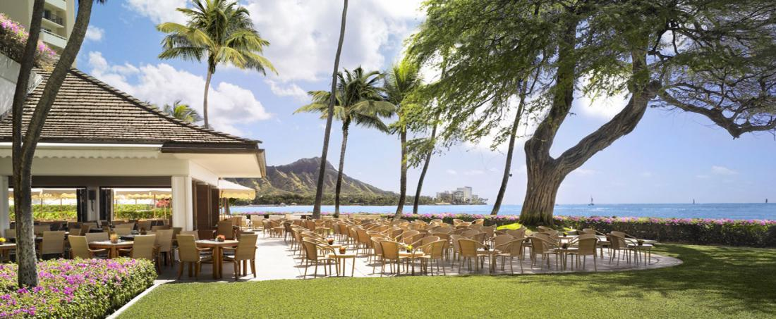 The beautiful views while dining at one of the Halekulani