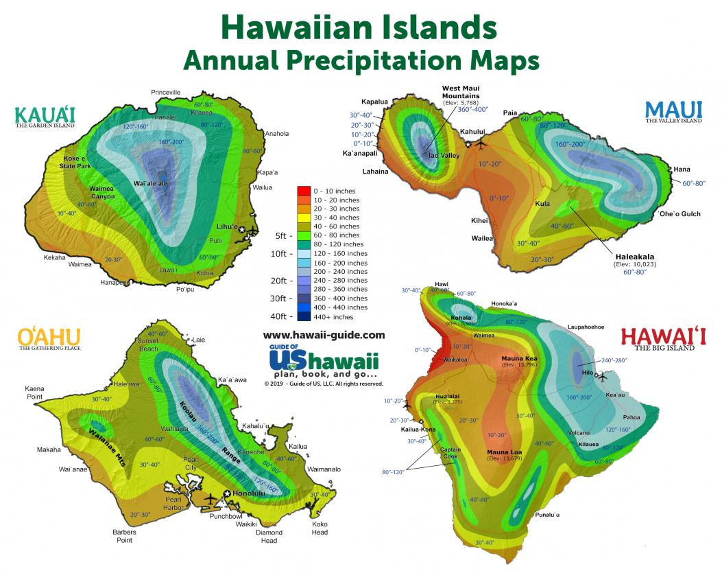 Hawaii Annual Precipitation Maps (click to enlarge)