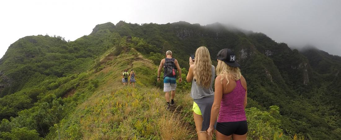 Hiking to your lunch spot with Mahina Hawaii