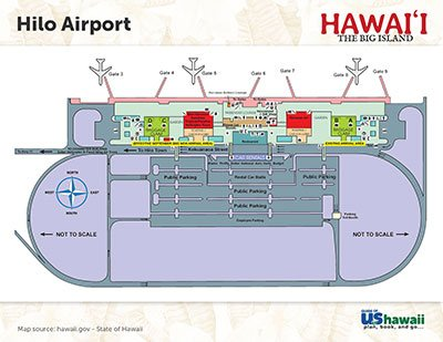Hilo Big Island, Hawaii Airport Map - Click to Enlarge