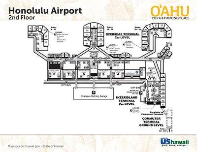 Honolulu on Oahu, Hawaii Airport Map - Click to Enlarge