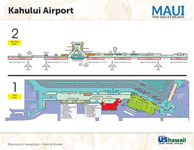 Kahului on Maui, Hawaii Airport Map - Click to Enlarge
