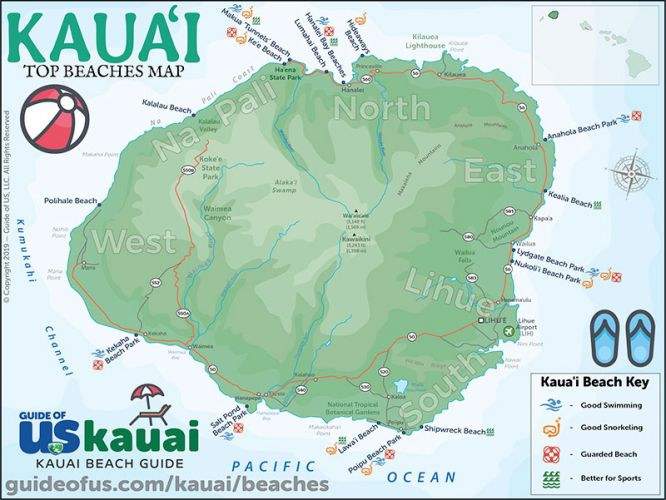 Kauai Beaches Map