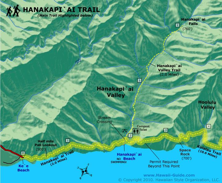 Hanakapiai Falls Trail Map