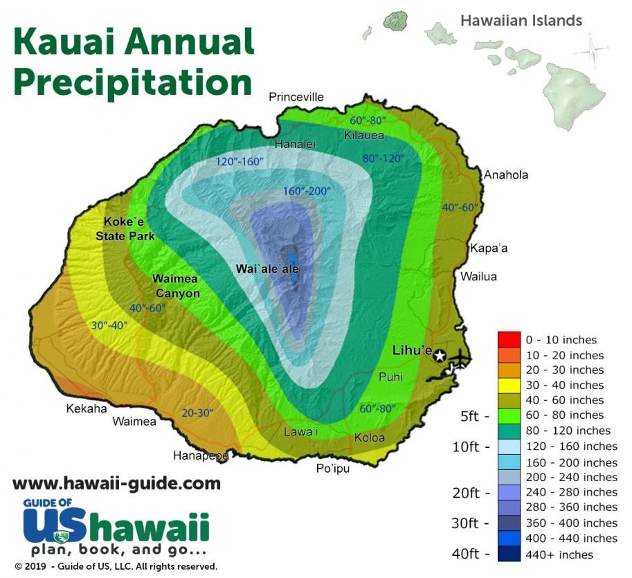 Kauai Annual Precipitation Map