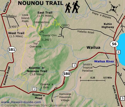 Sleeping Giant Nounou East Trail Map