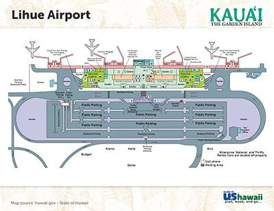Lihue on Kauai, Hawaii Airport Map - Click to Enlarge