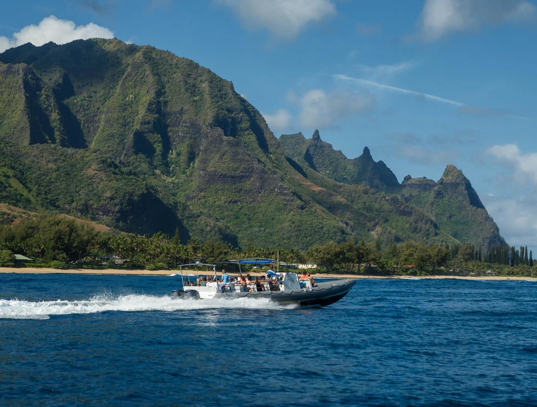 Take a ride out to the best snorkeling spots in Kauai on this custom built ridid-hull inflatable raft