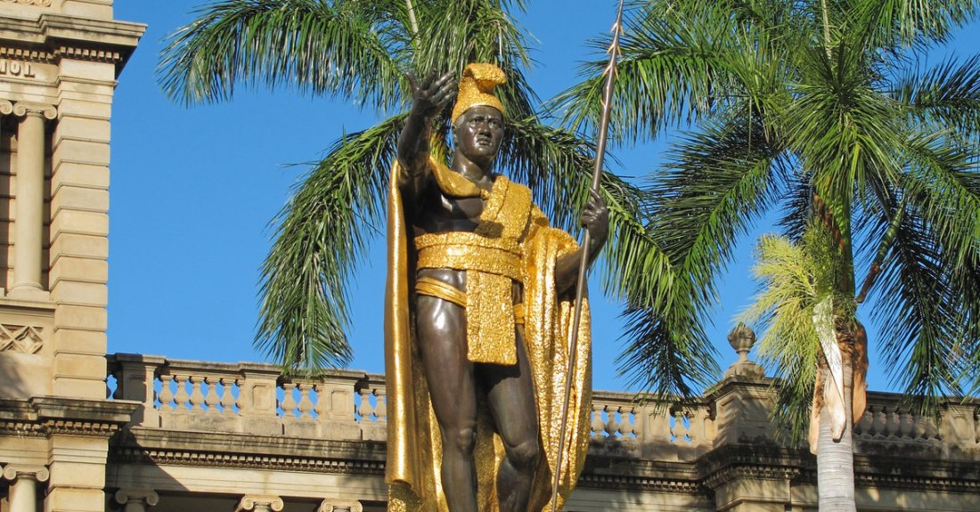King Kamehameha statue, which is found across the street