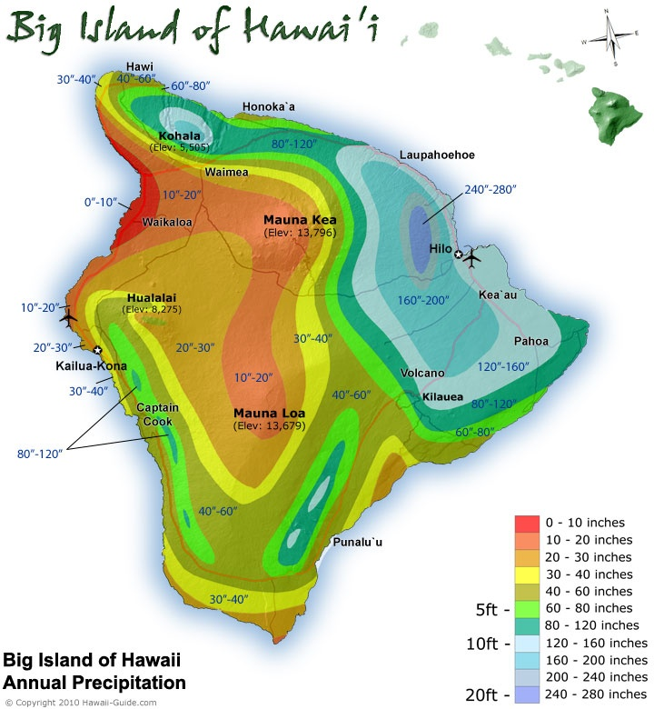 Big Island of Hawaii Annual Precipitation Map