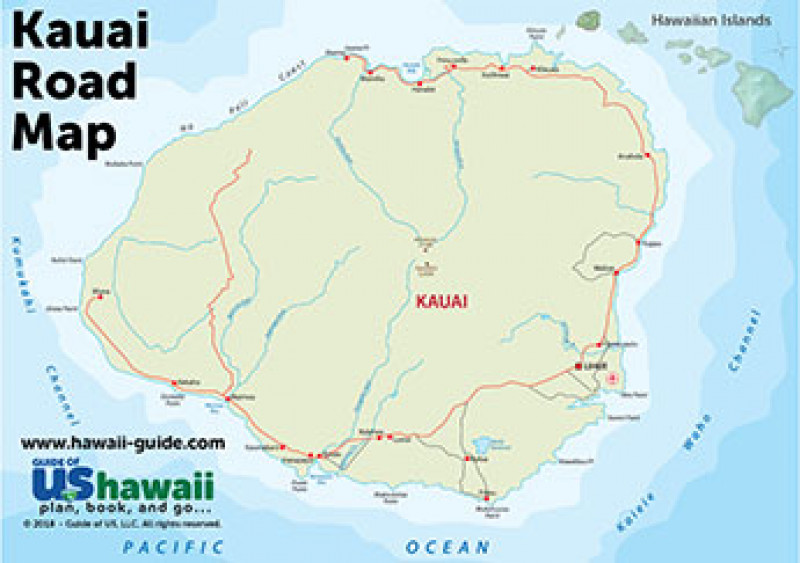Refreshing image throughout printable map of kauai