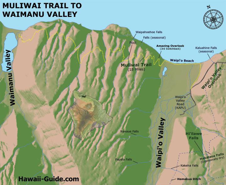 Muliwai Trail to Waimanu Valley map