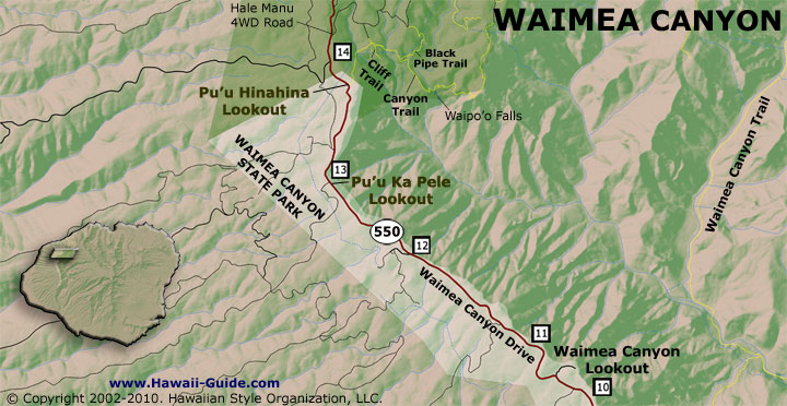 Puu Hinahina Lookout map