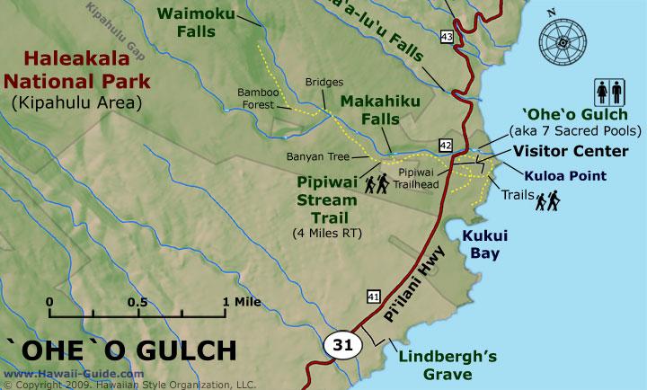 Oheo Gulch Kipahulu map