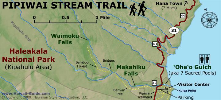Waimoku Falls map